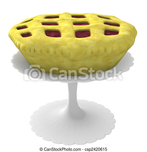 Pie on stand - 3d computer generated - csp2420615