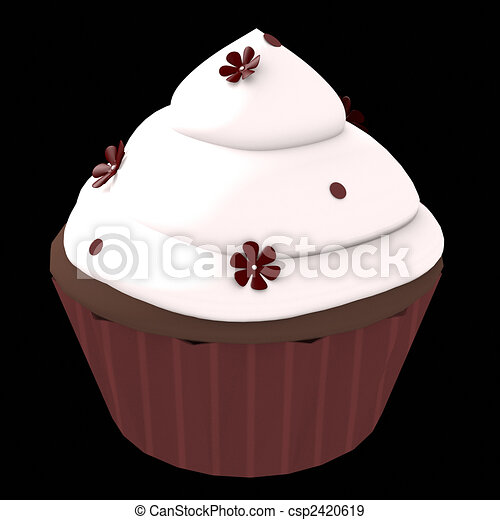 Chocolate cupcake - 3d computer generated - csp2420619