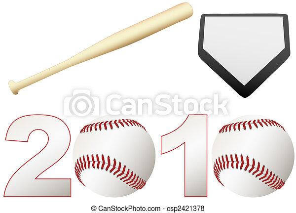Baseball 2010 Season Set balls bat base - csp2421378