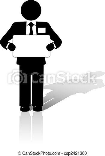 business man holds blank copyspace sign - csp2421380