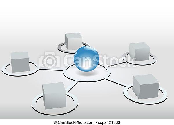 Cubes as network nodes connectetd to shiny blue sphere - csp2421383