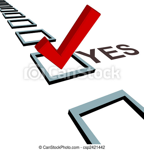 Check mark to vote yes 3D box poll election - csp2421442