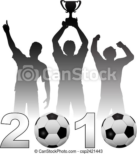 Football players celebrate 2010 season soccer victory - csp2421443