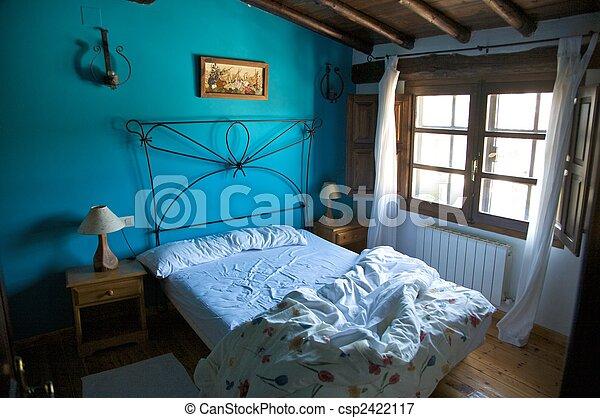 bed, Eenzaam, slaapkamer, blauwe, muur