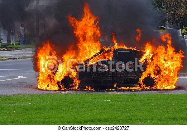 Car in flames. Advanced stage of a fire - csp2423727