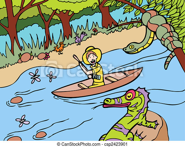 Vector Clip Art of amazon river hand drawn cartoon image style ...