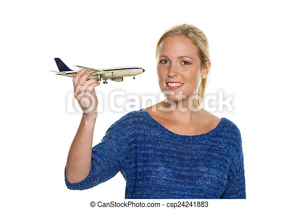 woman with model airplane - csp24241883