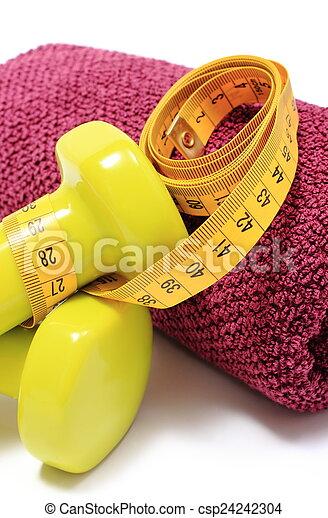Stock foto hanteln handtuch gebrauchend fitness messen band