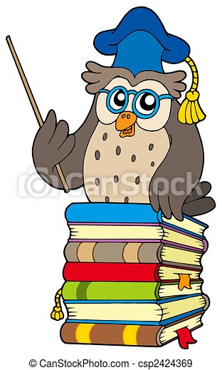 Wise owl teacher on books - csp2424369