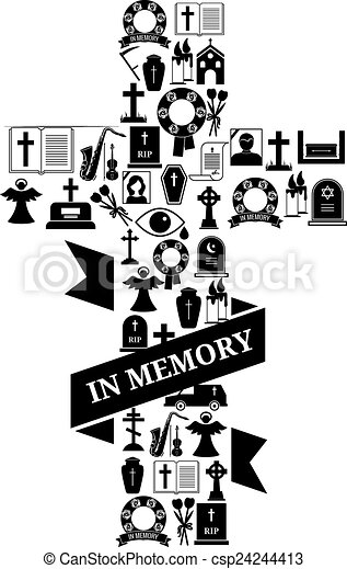 Vector Clip Art of In Memory Concept - Funeral Cross Icon with ...