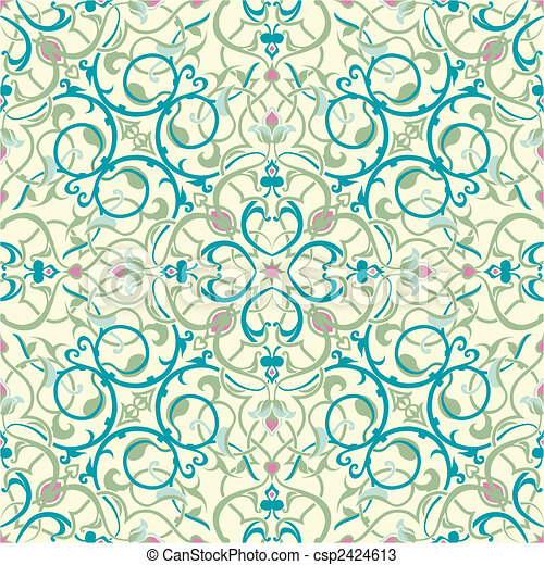 middle eastern inspired seamless tile design - csp2424613