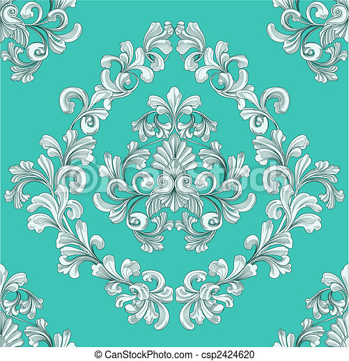 seamless tiling floral wallpaper pattern  - csp2424620