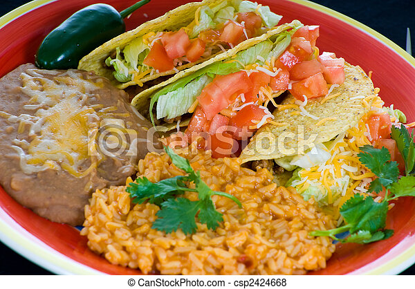 Colorful Mexican food plate - csp2424668