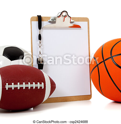 Assorted sports balls with a Clipboard - csp2424688