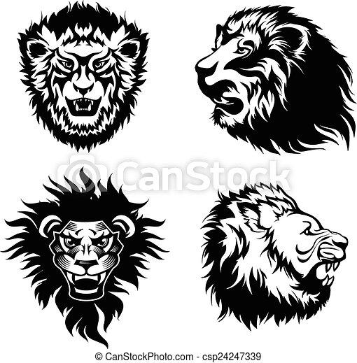 Illustration, de, les, tête, de, a, grogner, lions