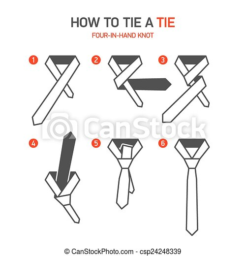 Vectors of How to tie a tie instructions - Four-In-Hand knot ...