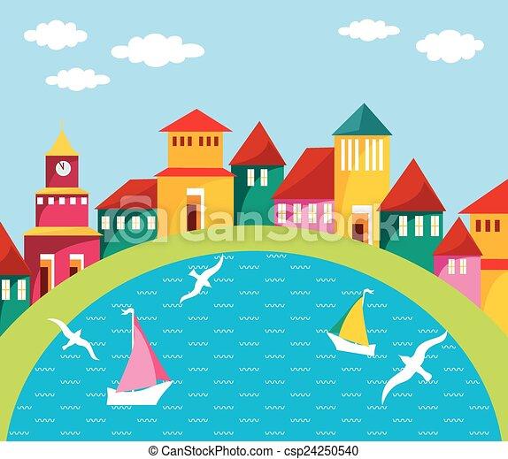 Cartoon Town Scene Port Town Seaside Scene of