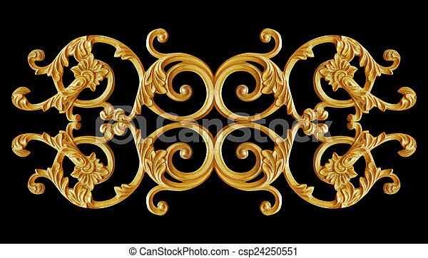 Ornament elements, vintage gold
