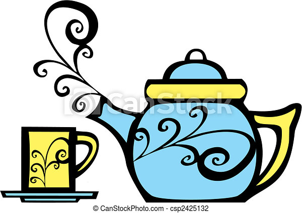 Swirl Teapot and Mug - csp2425132