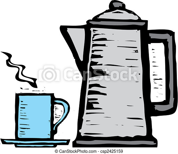 Rough Coffee Pot and Mug - csp2425159