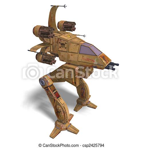 futuristic transforming scifi robot and spaceship - csp2425794