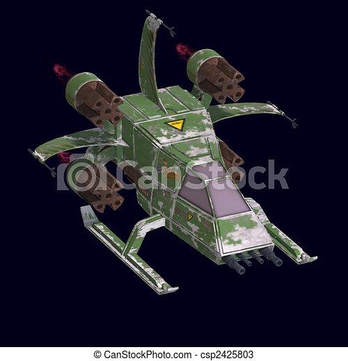 futuristic transforming scifi robot and spaceship  - csp2425803