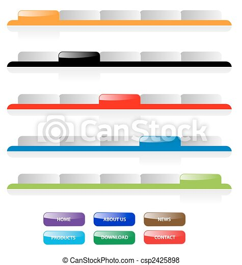 Set of vector aqua web 2.0 site navigation tabs and buttons. Perfect for adding text. Easy to edit, any size. - csp2425898