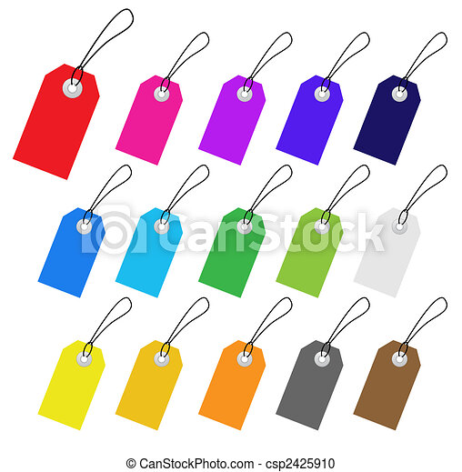 Set of multicolored vector tags for marketing design. Perfect use with text. - csp2425910