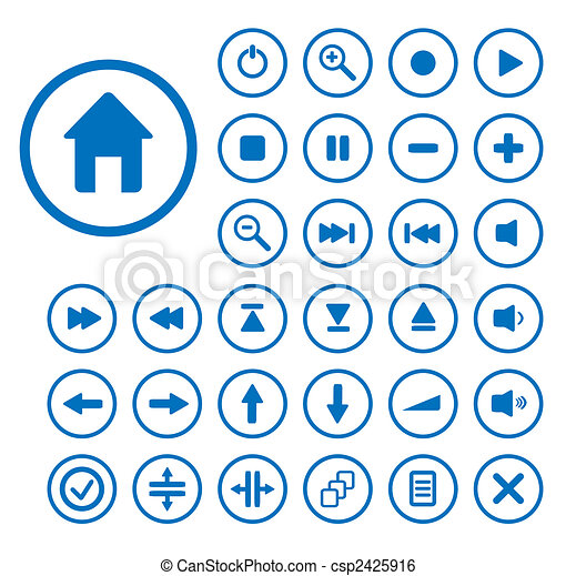 Collection of vector audio buttons. Easy to edit, any size. - csp2425916
