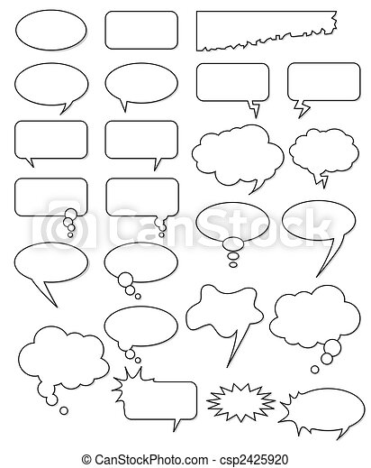 Collection of different empty vector shapes for comics or web. Add text, easy to edit, any size. - csp2425920