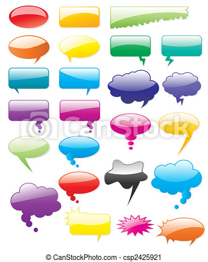 Collection of colored vector comics shapes. Add text, easy to edit, any size. - csp2425921