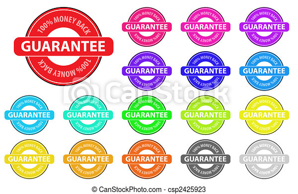 Collection of vector multicolored money back badges. Easy to edit, any size. - csp2425923