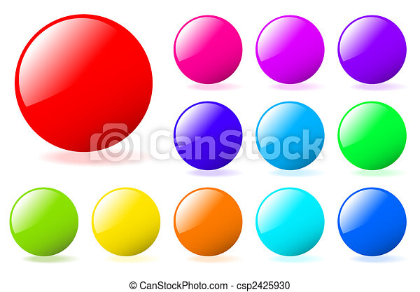 Set of multicolored glossy vector spheres with shadow. Perfect for adding text, icons. More in my gallery. - csp2425930