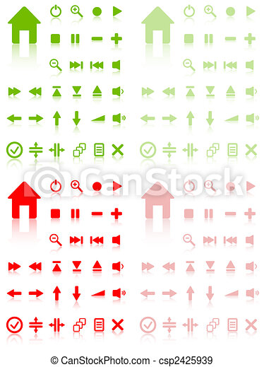 Collection of vector buttons with reflection. Active and inactive. More in my gallery.Collection of vector buttons with reflection. Active and inactive. More in my gallery. - csp2425939