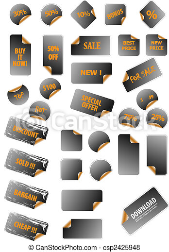Collection of promotion vector labels. Different shapes, easy to edit, any size. Perfect for adding text, icons. More in my gallery. - csp2425948