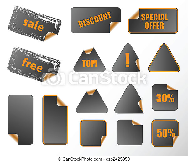 Collection of promotion vector labels. Different shapes, easy to edit, any size. Perfect for adding text, icons. More in my gallery. - csp2425950