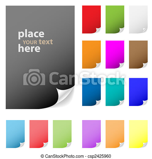 Collection of vector multicolored paper with peeled corner. Perfect for adding text, design. More in my gallery. - csp2425960