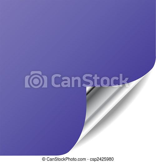 Vector violet page with curled corner and shadow. Perfect for adding text, design. More in my gallery. - csp2425980