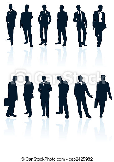 Set of dark blue vector businessman silhouettes with reflections. More in my gallery. - csp2425982