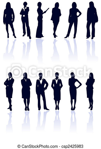 Set of dark blue vector business woman silhouettes with reflections. More in my gallery. - csp2425983
