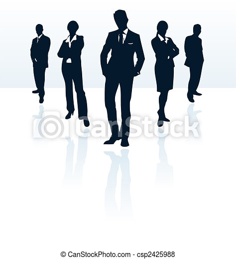 Silhouettes of vector business man and woman. More in my portfolio. - csp2425988