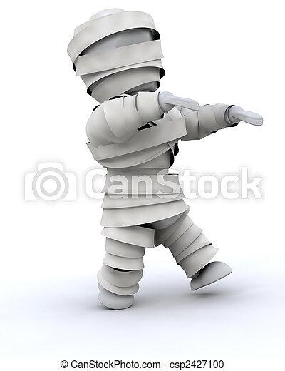 man in halloween mummy costume - csp2427100