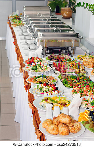 Stock Photography of catering wedding - chafing dishes at table ...