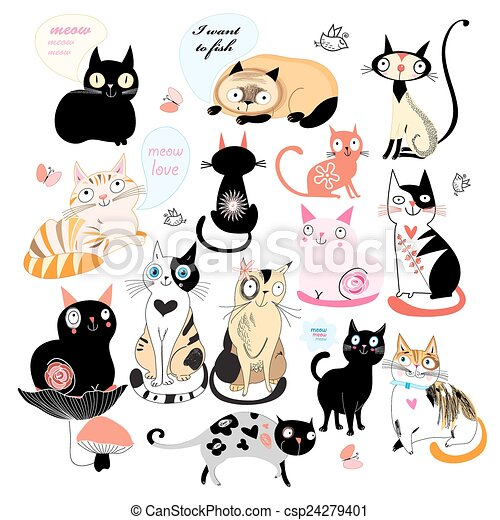 Cheerful set of cats - csp24279401