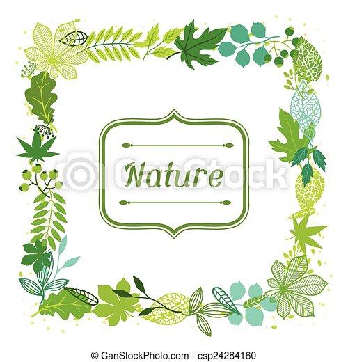 estilizado, verde, leaves., plano de fondo - csp24284160