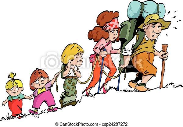 vektoren illustration von   wandern familie   der