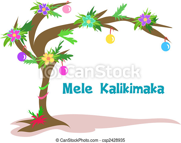 Clipart Vector of Hawaiian Christmas Tree - Here is a ...