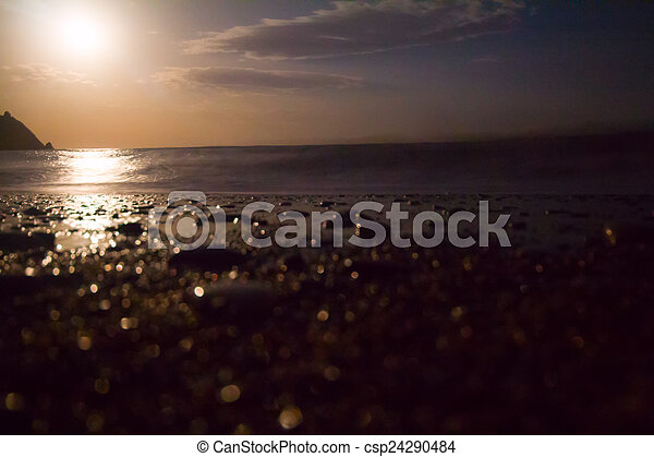 night sea moon light of a wave surf
