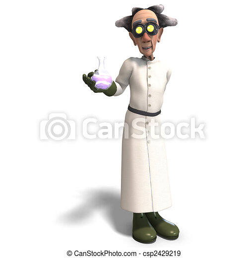 mad scientist with dangerous fluid - csp2429219