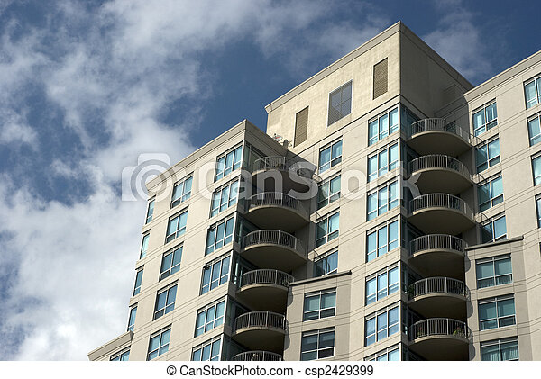 Stock photographs of modern residential building exterior csp2429399 search stock photography - Batiment moderne ...